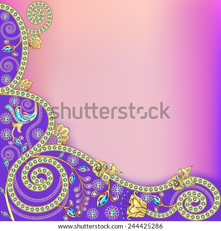 illustration background with flowers of gold and precious stones - stock vector