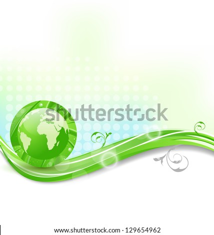 Illustration background with global planet and eco green leaves  - vector - stock vector