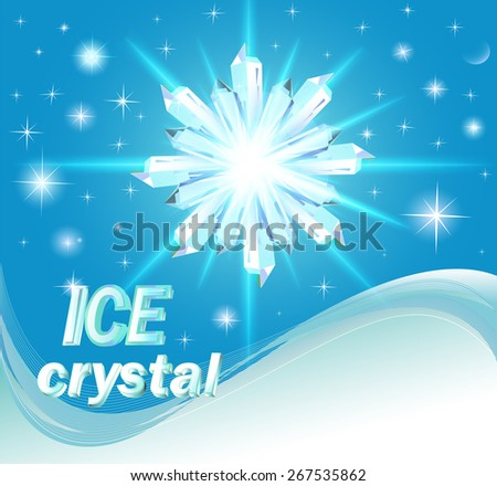 illustration background with shiny crystals of ice and wave - stock vector