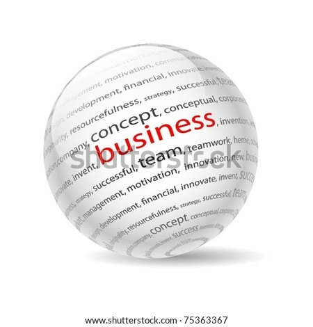 Illustration  ball with inscription business, on a white background. Vector. - stock vector
