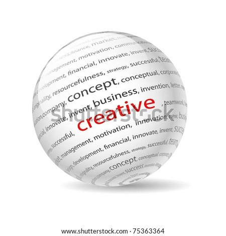 Illustration  ball with inscription creative, on a white background. Vector. - stock vector