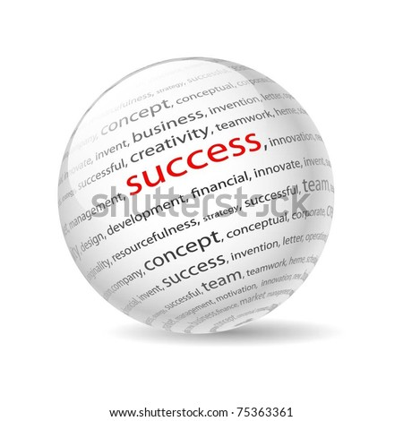 Illustration  ball with inscription success, on a white background. Vector. - stock vector
