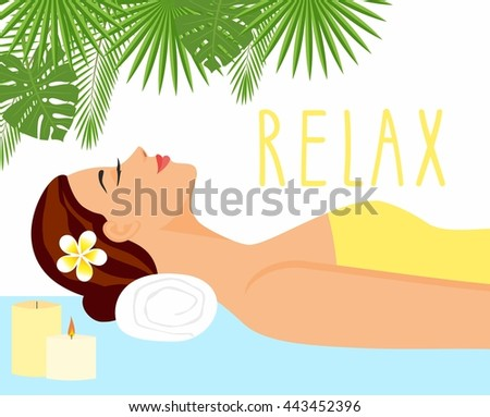 illustration beautiful woman in spa environment. woman relaxing in wellness and spa salon - stock vector