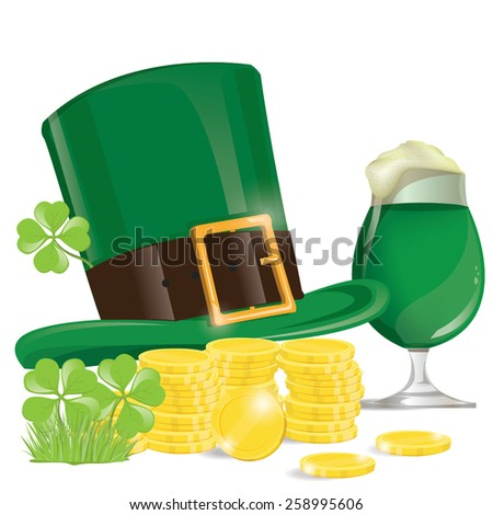 illustration. beers with clovers for St Patrick's day. hat with coin on white Background. - stock vector