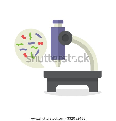 Illustration biochemistry and microbiology icon depicting a laboratory microscope for examining microbes and bacteria in science, medicine and industry - stock vector