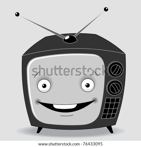 illustration black and white TV set on a gray background with a cheerful face on the screen - stock vector