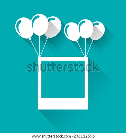 Illustration blank photo frame with balloons for your holiday - vector - stock vector