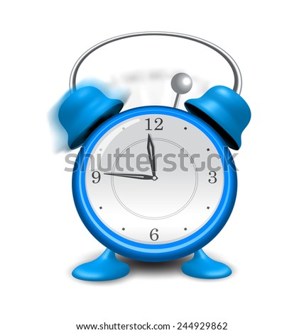 Illustration blue alarm clock close up, isolated on white background - vector - stock vector