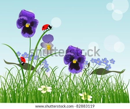 illustration blue flowers and ladybugs in green grass - stock vector
