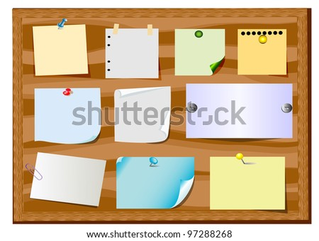 illustration board announcement with slip of paper and office button - stock vector
