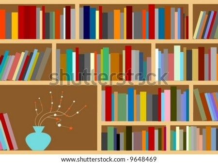 illustration bookcase library furniture vector book flower - stock vector