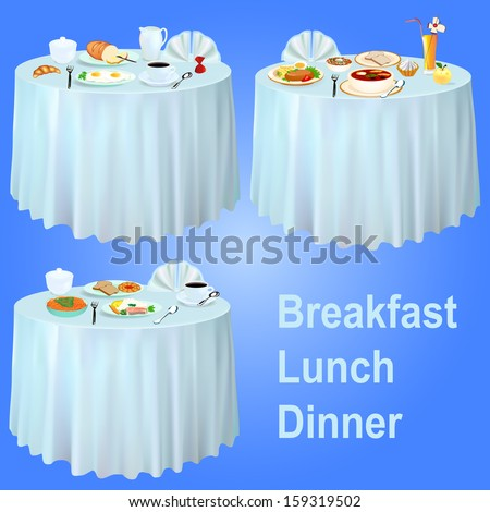 illustration Breakfast lunch dinner on the table with a tablecloth - stock vector