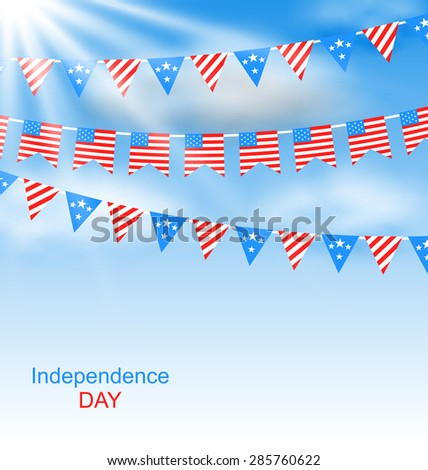Illustration Bunting Flags Pennants in Traditional American Colors for Independence Day - Vector - stock vector