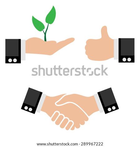 Illustration Business Icons. Handshake partners Sprout Tree in Hand, Sign of a Good. Vector. - stock vector
