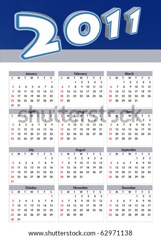 illustration 2011 calendar. modern calendar - stock vector