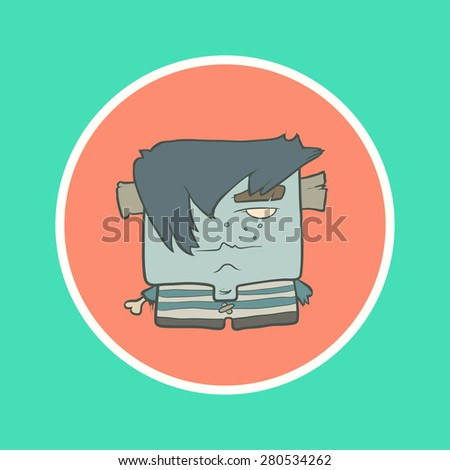 Illustration cartoon boy zombie in a striped vest with protruding bone instead of a hand and plugs in his ears in the circle. Hand drawn cartoon. The concept of the character on a uniform background. - stock vector
