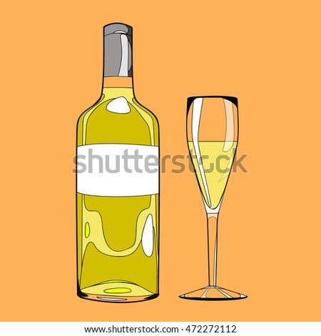 illustration cartoon hand drawn bottle with alcohol drink and special glass goblet isolated on background, poster for restaurant and bar menu, vector eps 10