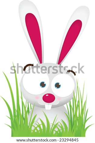 Illustration Cartoon of Rabbit with big Eyes sit on the Grass - stock vector