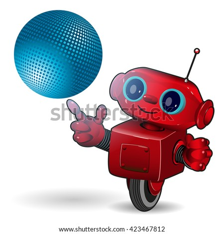 Illustration cartoon red robot with blue ball - stock vector