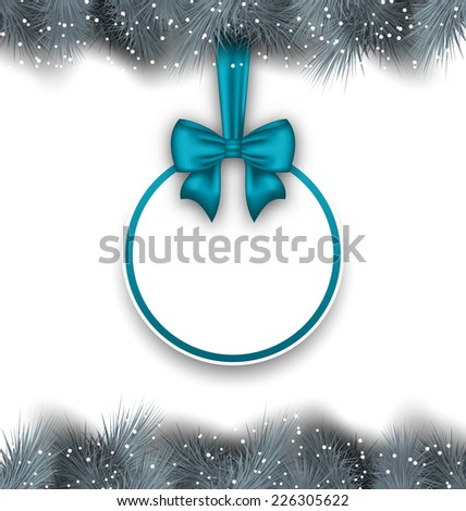 Illustration celebration card with bow ribbon, copy space for your text - vector