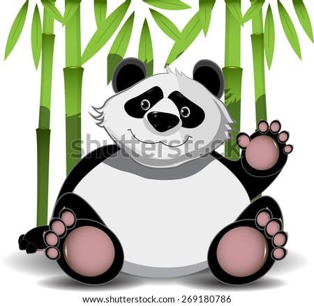 Illustration cheerful big panda and green bamboo - stock vector