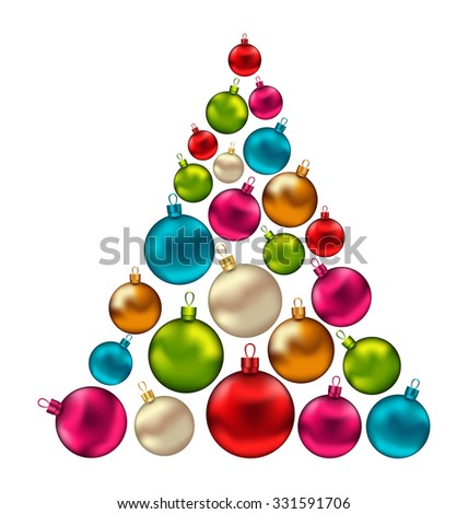 Illustration Christmas Abstract Tree made in Colorful Balls, Isolated on White Background - Vector - stock vector