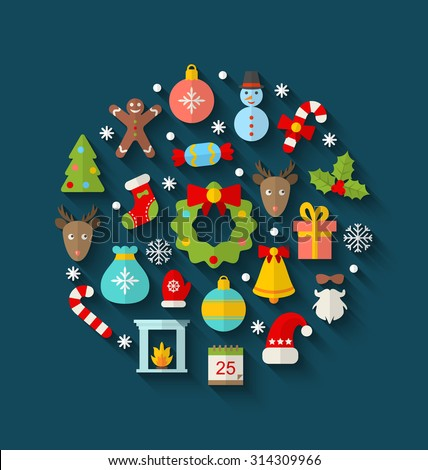 Illustration Christmas Colorful Objects and Elements in Round Frame, Flat Icons with Long Shadows - Vector - stock vector