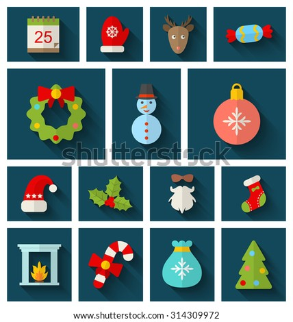 Illustration Christmas Colorful Objects and Elements with Long Shadows - Vector - stock vector
