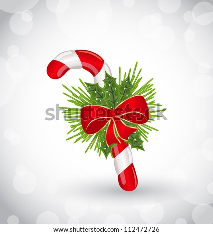Illustration Christmas decoration with sweet cane, bow and pine - vector - stock vector