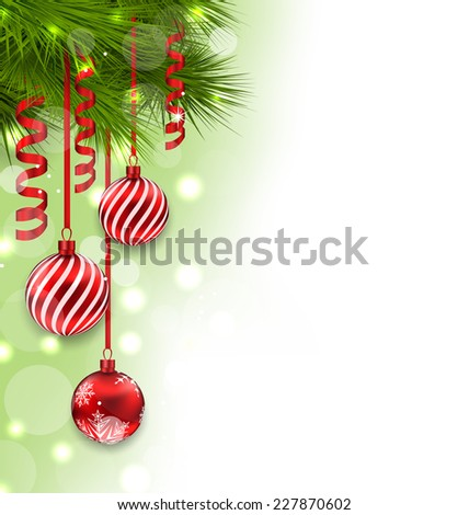 Illustration Christmas fir branches and glass balls, copy space for your text - vector - stock vector