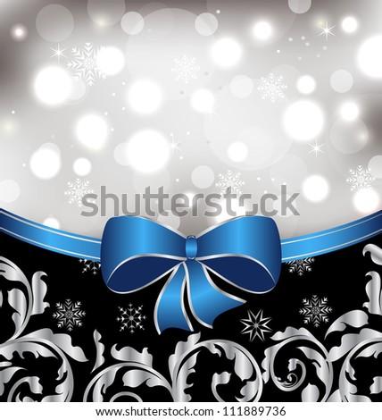 Illustration Christmas floral background, ornamental design elements - vector - stock vector
