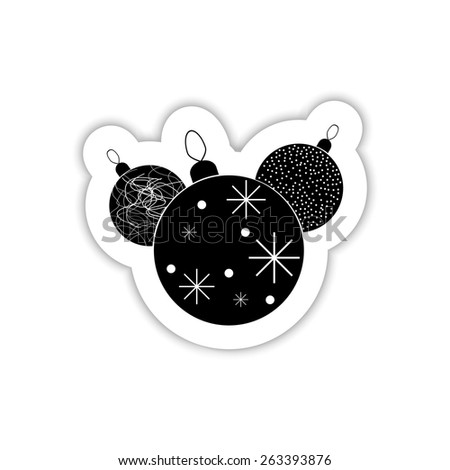 Illustration Christmas multicolor balls on a white background with shadow - stock vector