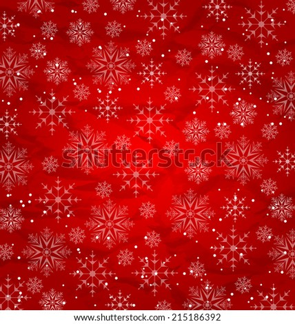 Illustration Christmas red wallpaper, snowflakes texture - vector - stock vector