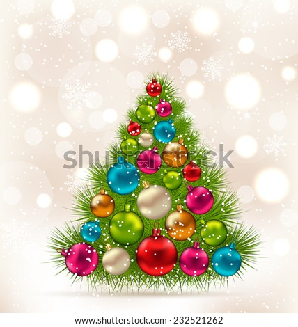 Illustration Christmas tree and colorful balls on light background - vector - stock vector