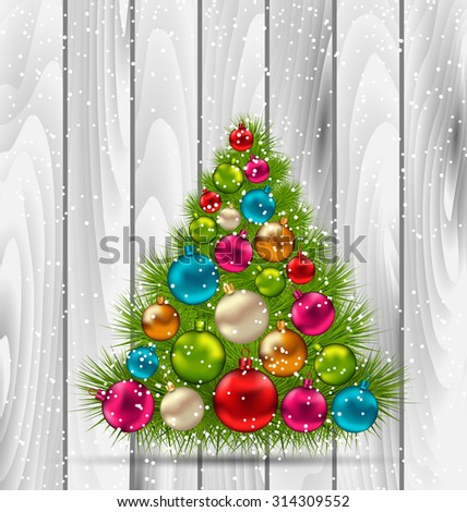 Illustration Christmas Tree and Colorful Balls on Wooden Background - vector - stock vector