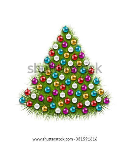 Illustration Christmas Tree Decorated Colorful Balls, Isolated on White Background - Vector - stock vector