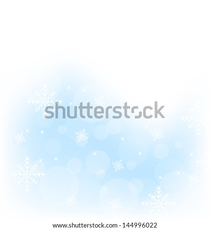 Illustration Christmas winter background with snowflakes - vector - stock vector