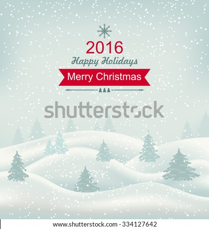 Illustration Christmas Winter Nature, Snowfall and Snow-covered Trees - Vector - stock vector