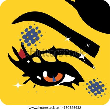 illustration Close-up of woman eye icon emblem symbol background - stock vector
