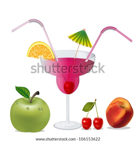 illustration cocktail with cherry by peach and apple - stock vector