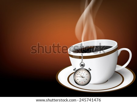 Illustration coffee cup with chronometer - stock vector