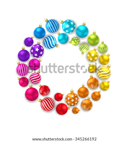 Illustration collection colorful Christmas Glass Balls - Vector - stock vector
