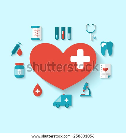 Illustration collection modern flat icons of hearts and medical elements, simple style with long shadow - vector