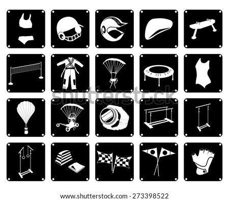 Illustration Collection of 20 Assorted Icon of Sport Equipments and Sport Gears in Black and White Colors. - stock vector
