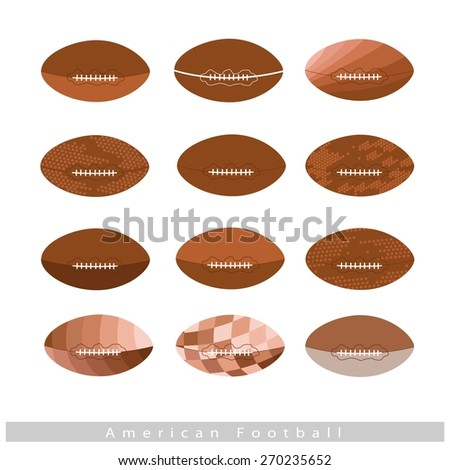 Illustration Collection of 12 Assorted Style of American Footballs Isolated on White Background.