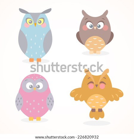 illustration collection of funny and cute flat owls - stock vector