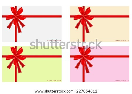 Illustration Collection of Happy New Year Card with Red Bows and Ribbon, Copy Space for Text Decorated   - stock vector