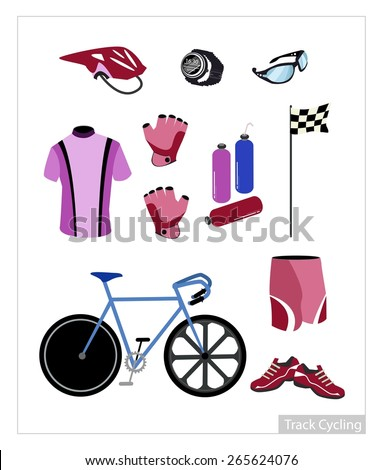 Illustration Collection of Track Cycling Equipment and Accessory Isolated on White Background. - stock vector