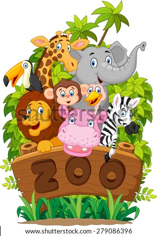 Illustration collection of zoo animals on white background - stock vector