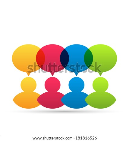 Illustration colorful people icons with dialog speech bubbles - vector - stock vector